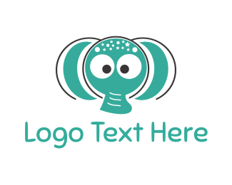 Child Care - Mint Elephant  logo design