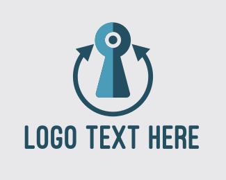 Locked - Blue Keyhole logo design