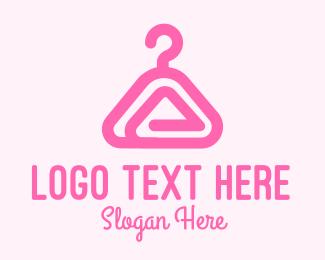 Wardrobe - Pink Hanger Letter A logo design