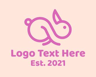 Easter Bunny - Pink Bunny Infinity  logo design