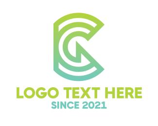 Hybrid - Green Tech G Outline logo design