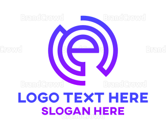 Cryptocurrency - Blue E Circle Stroke  logo design