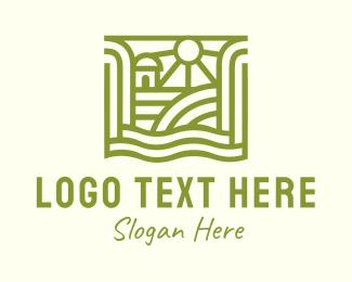 Rice Field - Green Organic Farm logo design