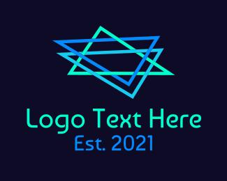 Games - Gaming Neon Triangle logo design