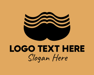 Dude - Big Black Mustache  logo design