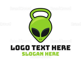 Kettlebell - Alien Kettlebell logo design