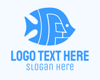 Blue Fish - Blue Abstract Fish logo design