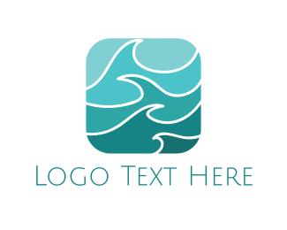 H2o - Turquoise Waves logo design
