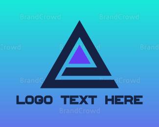 Ag - Blue Triangle E logo design