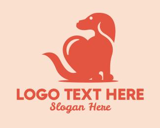 Pet Love - Beagle Dog Heart  logo design