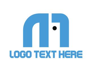 Blue Elephant - Elephant Letter M logo design