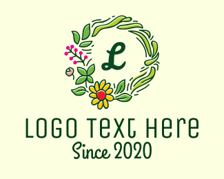 Coloring Book - Sunflower Wreath Lettermark logo design