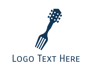 Guitar Fork Food Music Restaurant Logo