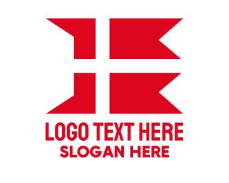 European - Red Denmark Flag  logo design