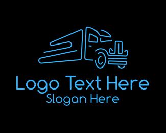 Truck - Minimalist Trailer Truck  logo design