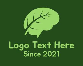 Knowledge - Brain Leaf logo design