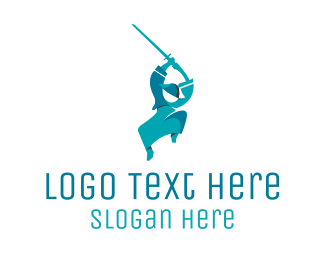 Aggressive - Blue Samurai logo design
