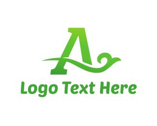 Twig - Green Eco Letter A logo design