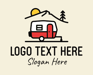 Recreational Vehicle - Campervan Trailer Camping logo design