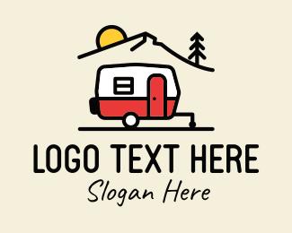 Trailer Home - Campervan Trailer Camping logo design