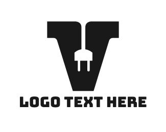 Plug - Electrical Plug Letter V logo design