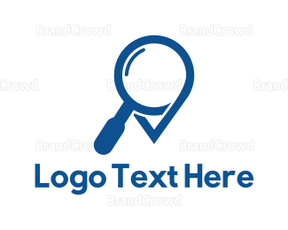 Zoom - Blue Magnifying Glass logo design