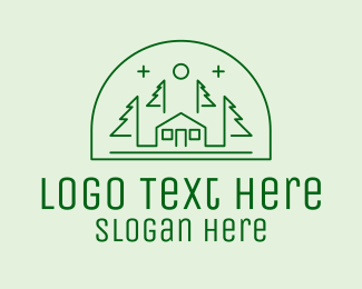 Tree House - Green Forest House  logo design