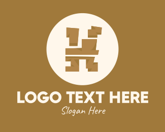 Cave Painting - Brown Ethnic Letter H logo design