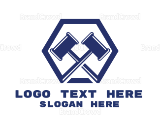 Carpenter - Blue Gavels Hexagon logo design