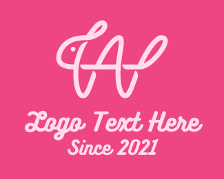 Calligraphy - Pink Rabbit Letter W logo design