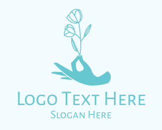 Skin Care - Beauty Wellness Hand Flower logo design