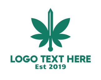 Weed - Green Cannabis Sword logo design