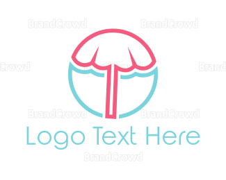 Pool - Beach Umbrella logo design
