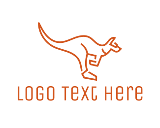 Au - Kangaroo Outline logo design