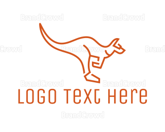 Wildlife - Kangaroo Outline logo design