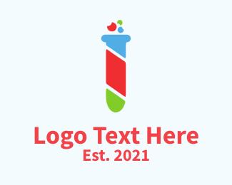 New - Colorful Test Tube logo design