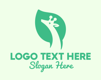 Zoo Animal - Green Giraffe Leaf logo design