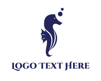 Underwater - Aquatic Seahorse logo design