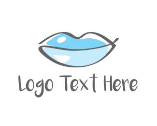 Lip Gloss - Water Beauty Lips logo design