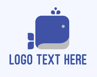 Large - Square Whale logo design