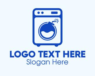 Bomb - Blue Laundromat Bomb logo design