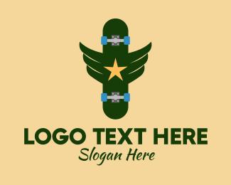 Skateboarder - Military Skateboard logo design