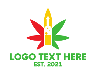 Wine Bottle Cannabis  Logo
