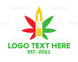 Whiskey - Wine Bottle Cannabis  logo design