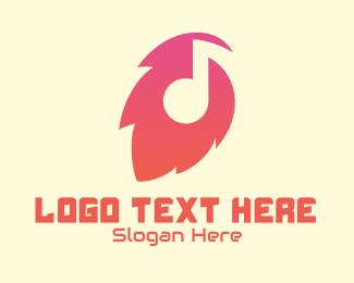 Gradient - Gradient Leaf Music logo design