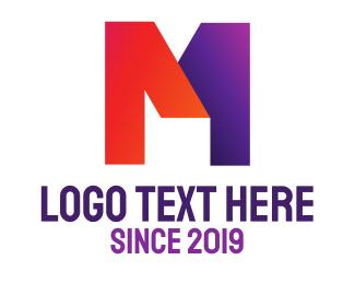 Letter - Orange & Violet Bold M logo design
