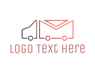 Mail - Mail Truck Outline logo design