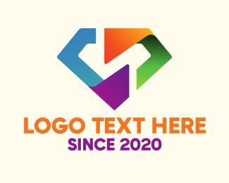 Digital - Digital Colorful Diamond logo design