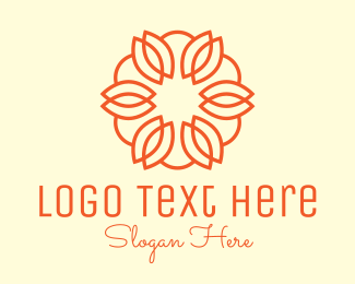 Floral Design - Orange Abstract Flower logo design