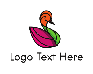 Coloring - Purple Leaf Swan logo design